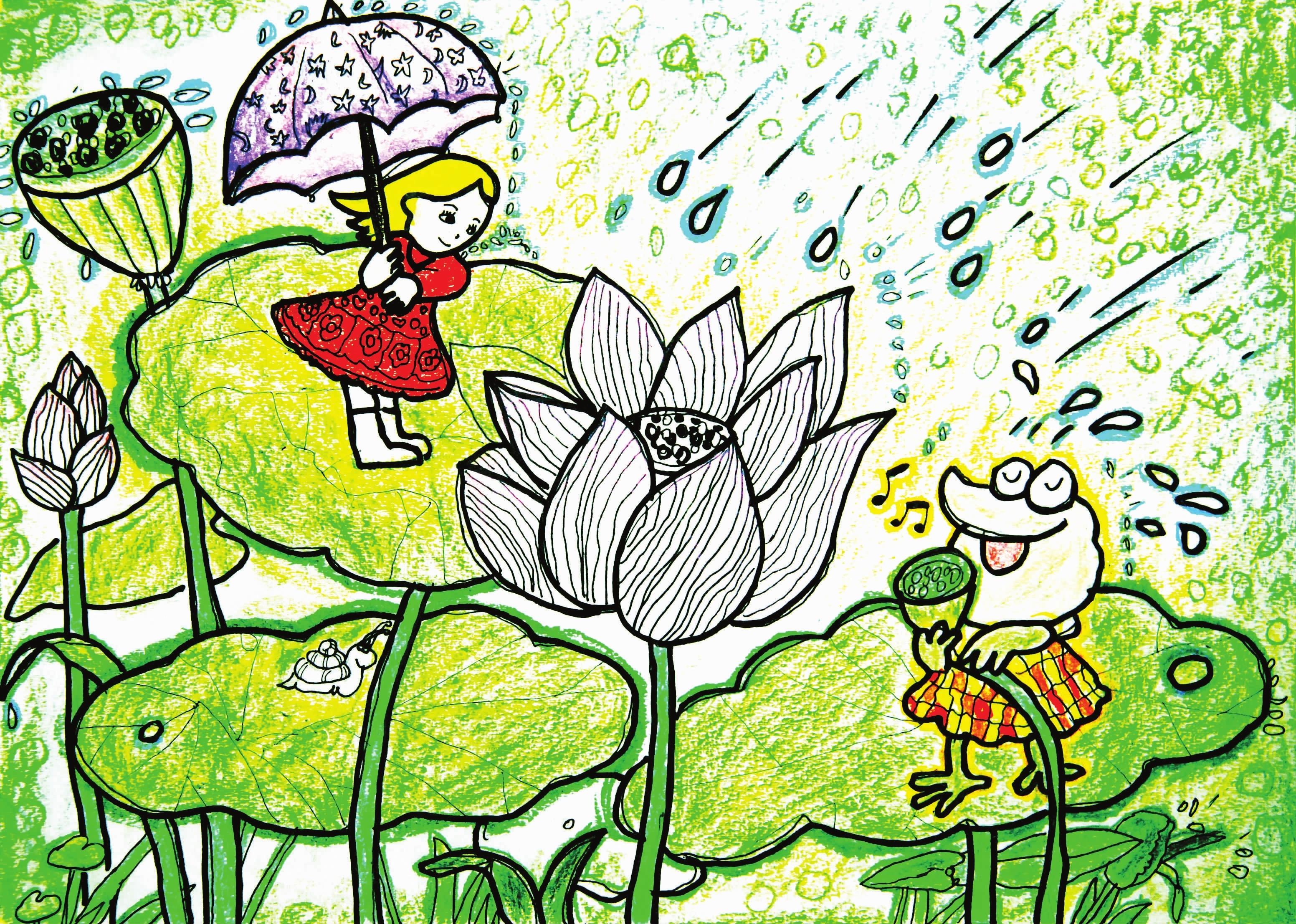 春天的树叶儿童画图片